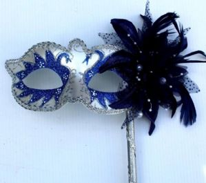 Blue & White Masquerade Mask - Mask on a Stick | Masks and Tiaras
